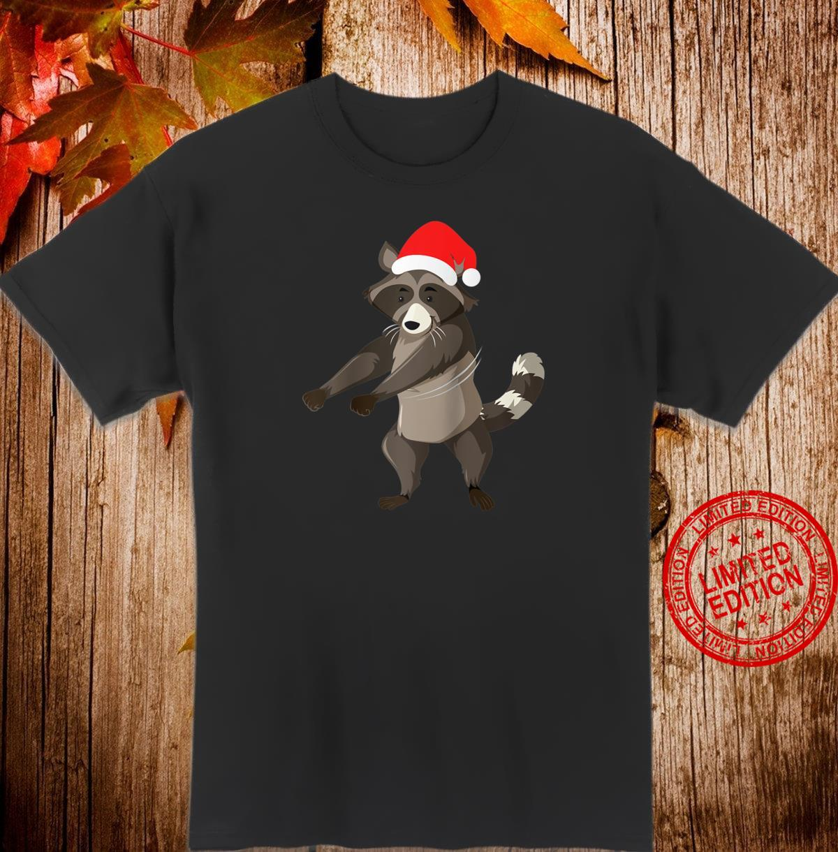 Flossing Racoon With Santa Claus Hat Floss Dance Christmas Shirt