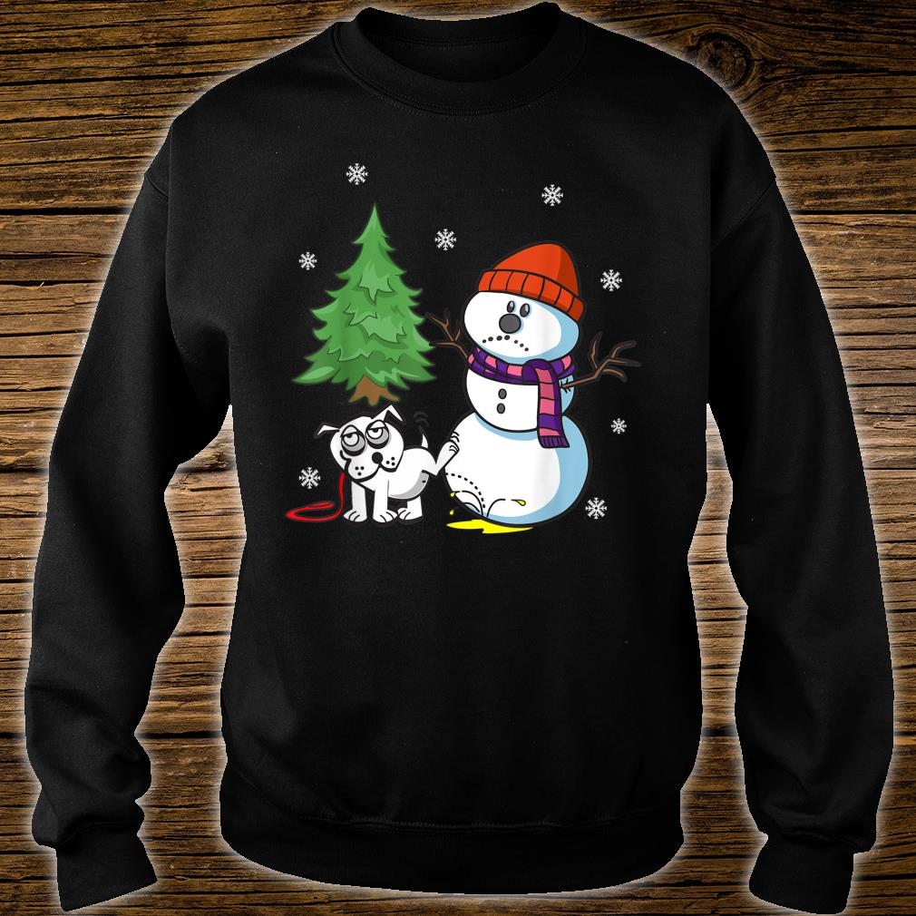 Funny Dog Pees on Snowman Ugly Christmas Shirt sweater
