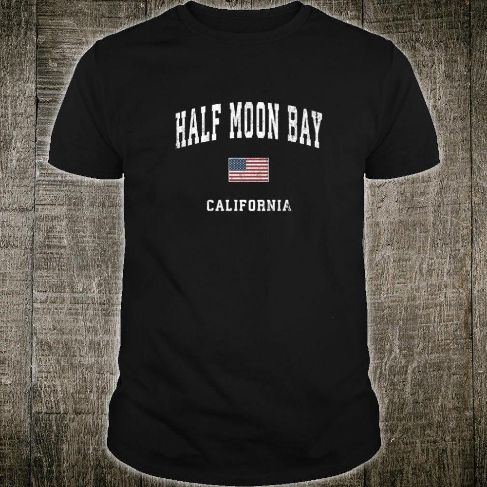 Half Moon Bay California CA Vintage American Flag Sports Shirt