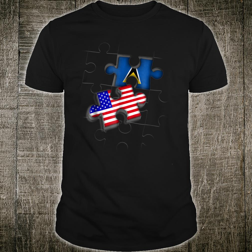 Lucian American St Lucia Flag Puzzle Shirt