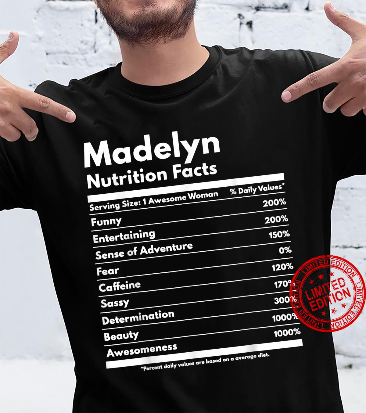 Madelyn Nutrition Facts Personalized Name Madelyn Shirt