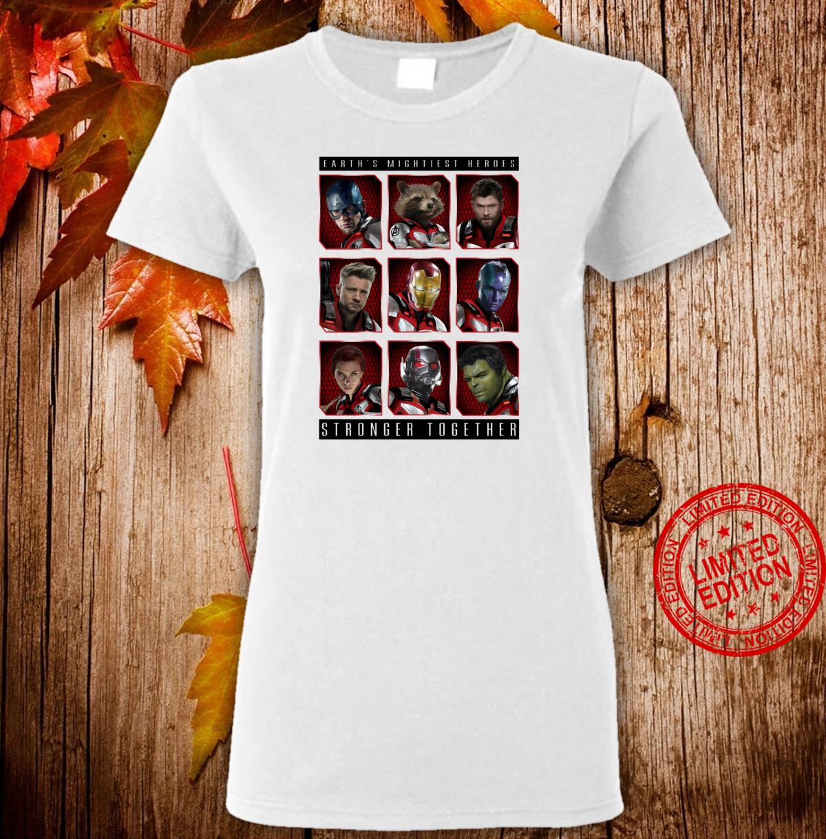 Marvel Avengers Earth's Mightiest Heroes Stronger Together Shirt ladies tee