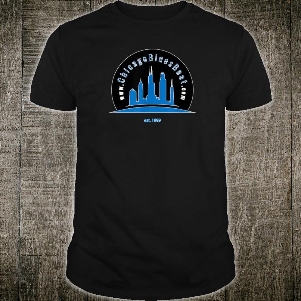 Mens ChicagoBluesBeat.com round logo on back Shirt