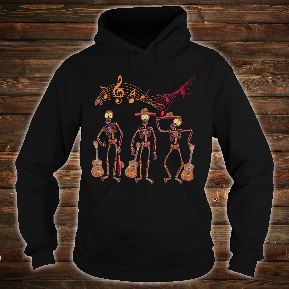 Mexican Mariachi Guitar Skeleton Day of The Dead Halloween Shirt hoodie