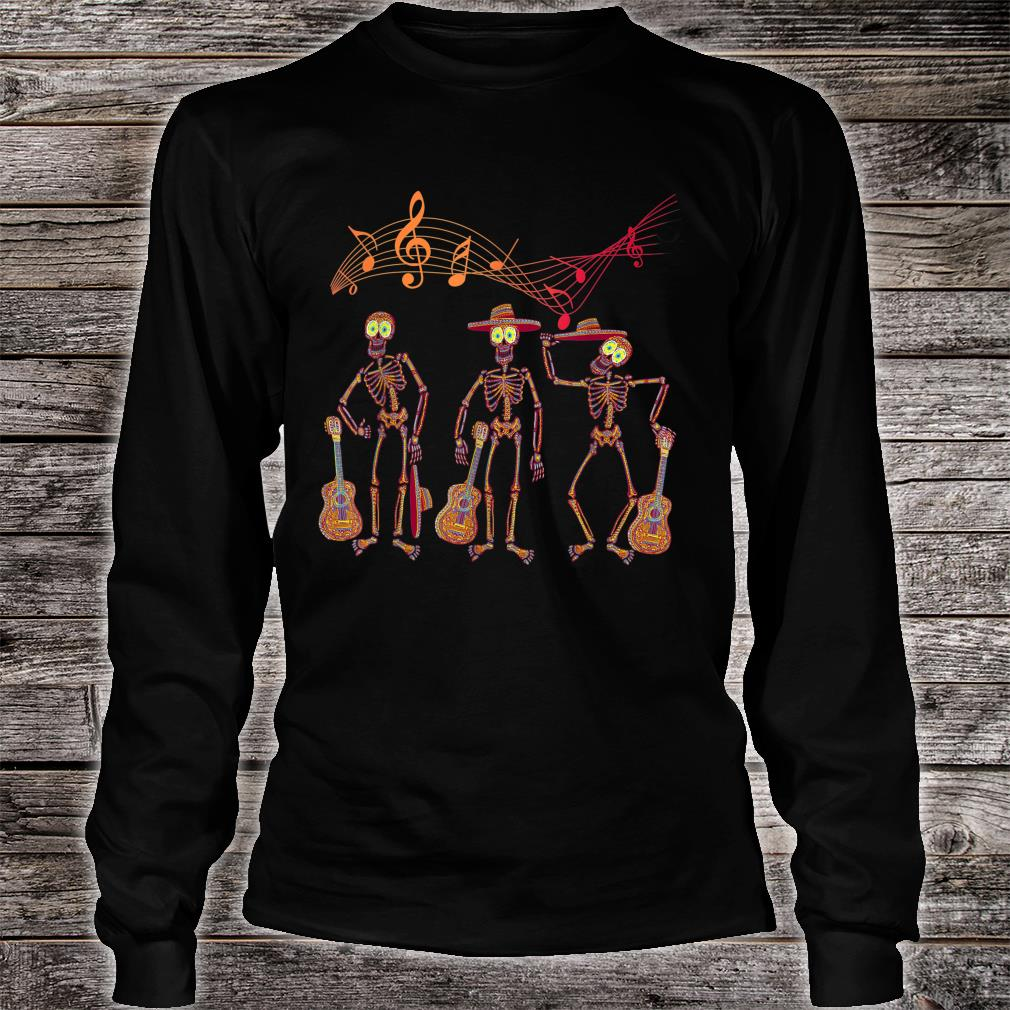 Mexican Mariachi Guitar Skeleton Day of The Dead Halloween Shirt Long sleeved