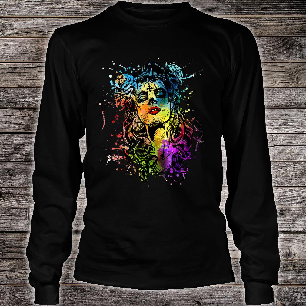 Mexico Tattoo Corloful Skull Day of The Dead Shirt Long sleeved