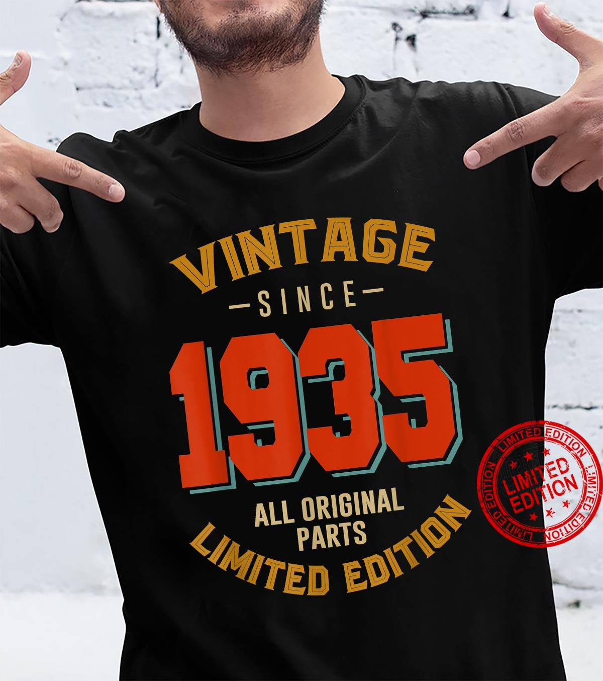 Vintage Since 1935 86th Bithday 86 Years Old Birthday Shirt