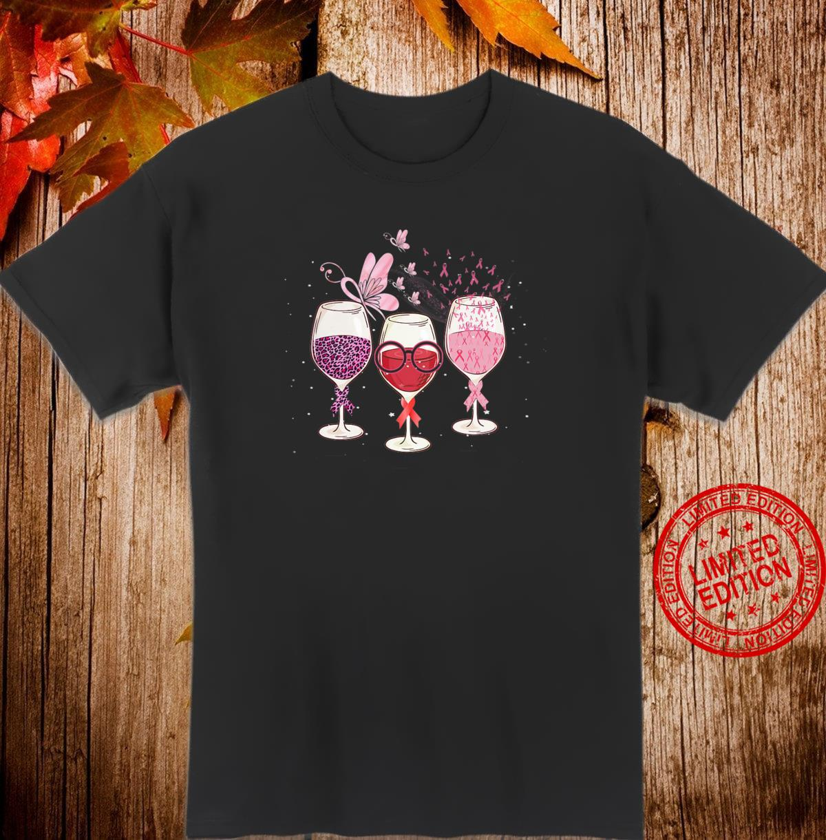 Womens Pink Ribbon Wine Glass Butterfly Breast Cancer Awareness Shirt