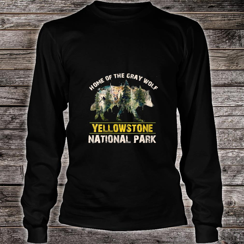 Yellowstone National Park US Wolf Vintage Shirt Long sleeved